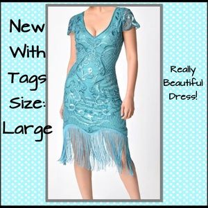 Dresses & Skirts - Unique 1920's Style Turquoise Beaded Fringe Dress